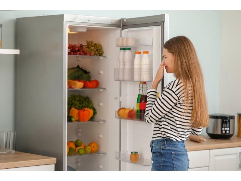 Γυναίκα μυρίζει άσχημη μυρωδιά από το ψυγείο